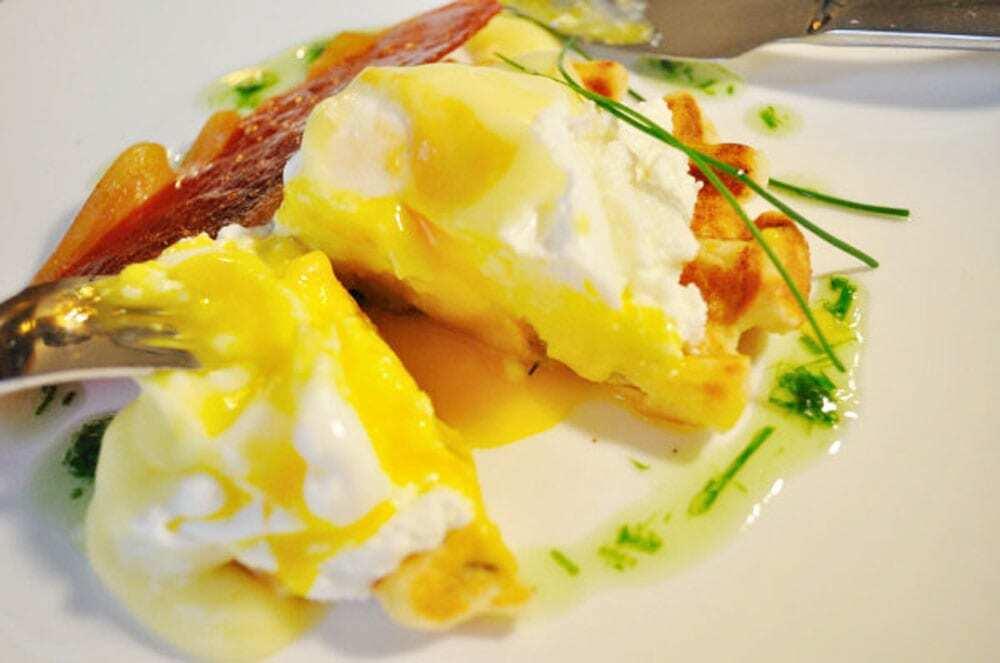 Savoury Waffle Benedict - Food Gypsy