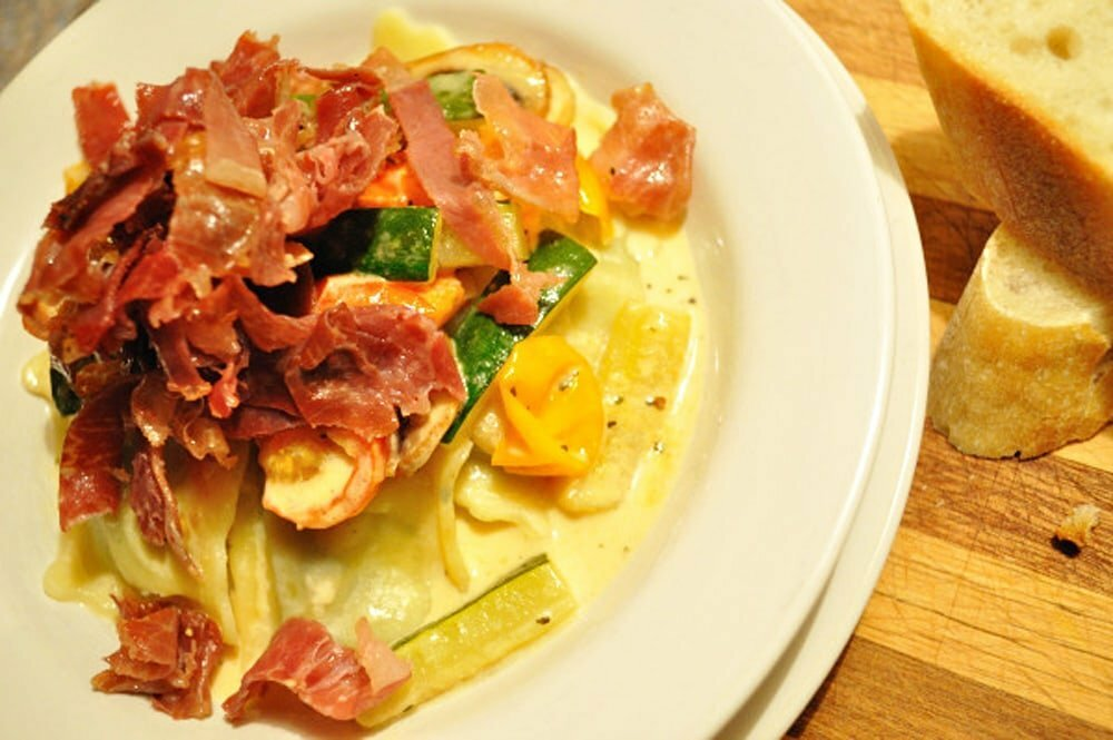 Mushrooms, Zucchini & Cherry Tomatoes In Cream Sauce W/ Crispy Prosciutto - Food Gypsy