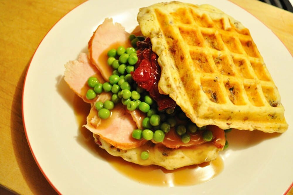 Stuffing-Waffle Turkey Sandwich - Food Gypsy