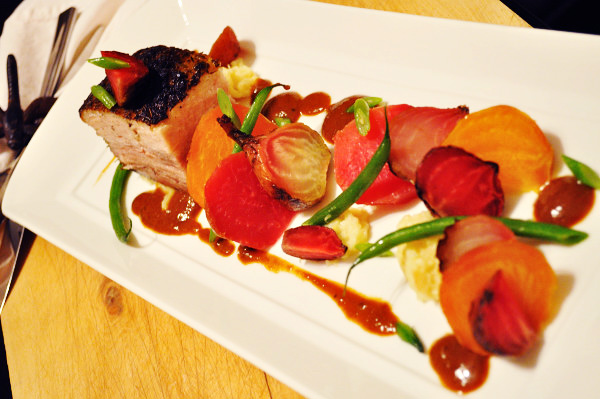 Pork Belly, Roasted Beets, Parsnip Mash, long - Food Gypsy