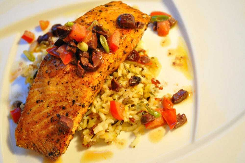 Three Pepper Salmon With Lemon Herb Rice And Olive Tomato Relish - Food Gypsy