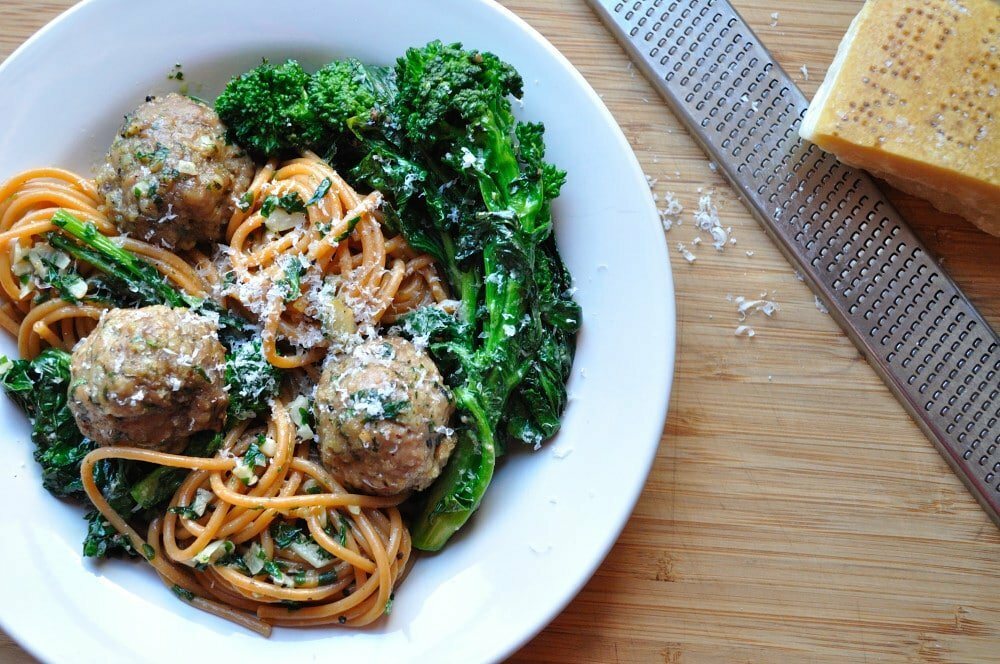 Spaghetti With Turkey Meatballs & Rapini - Food Gypsy