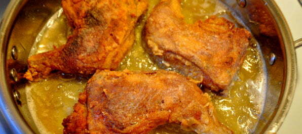 Virginia Fried Chicken, in the pan- FG
