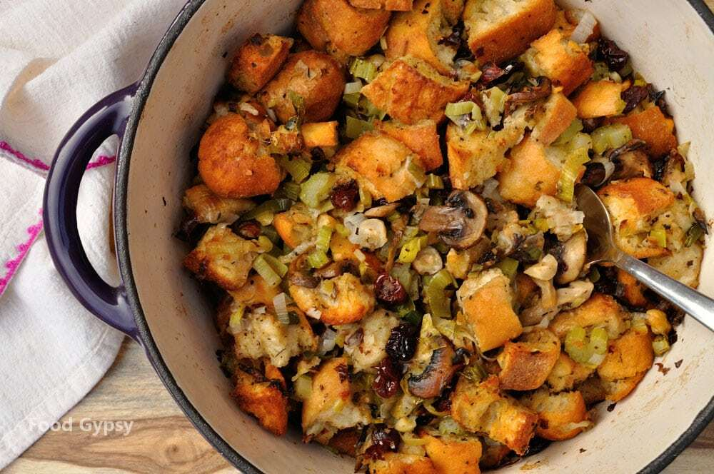Mushroom Cherry Hazelnut Stuffing - Food Gypsy