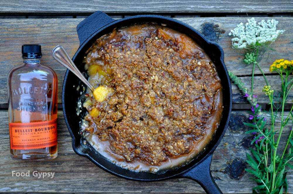 Peach Bourbon Praline Crisp - Food Gypsy