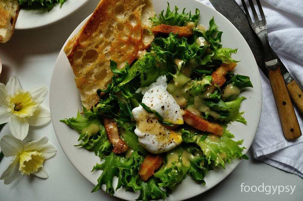 Friseé Salad with Lardons, Poached Egg, Food Gypsy
