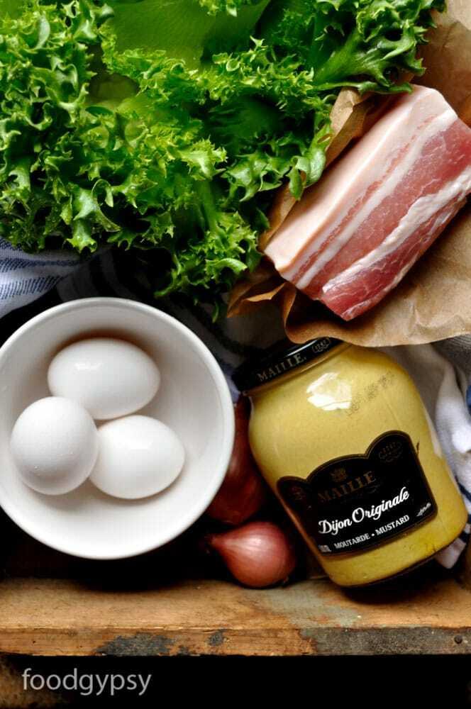 Escarole Lettuce, Salt Pork, Dijon Mustard, Shallots & Eggs, Food Gypsy
