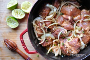 Pork cubes in spice and marinade, Food Gypsy